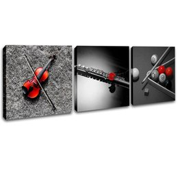 $enCountryForm.capitalKeyWord UK - Framed Wal Artl Decor Canvas Printings 3 Pcs Set Modern Musical Instrument Poster Violin Flute Picture Billiards Prints Painting