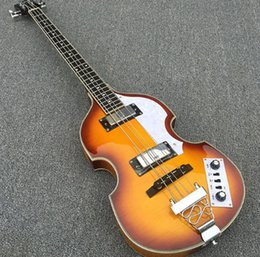 hollow bass guitars 2019 - In Stock -Violin Electric Bass Guitar,Spruce Top Flame maple Side & Back,Semi Hollow Body Beatles Bass Guitarra, free sh