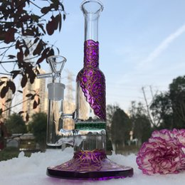 $enCountryForm.capitalKeyWord NZ - Cheap Pipe glass bong Copper Plating purple water pipe with golden stripe and green Honeycomb Perc smoking pipe free shipping