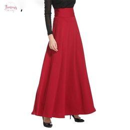 Skirt pluS SizeS online shopping - 2019 Skater Muslim Women Floor Length Long Skirts Plus Size Xl Black High Waist Maxi Winter Skirts Jupe Longue Ms1809