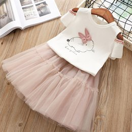$enCountryForm.capitalKeyWord Australia - 2019 New Summer Girls Clothes Short-sleeve Rabbit T-shirt Fluffy Skirt 2pcs Kids Suits 3 4 5 6 7 8 Year Children Clothing Set Q190531