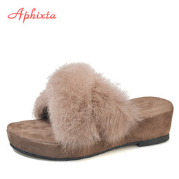 $enCountryForm.capitalKeyWord Australia - wholesale Shoes Woman Platform Slippers For Women Real Animal Fur Winter Women Slippers Wedges High Heels Warm Rabbit Hair