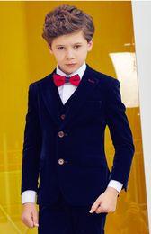 Handsome Kids Suits Australia - Handsome Two Buttons Notch Lapel Kid Complete Designer Handsome Boy Wedding Suit Boys' Attire Custom-made (Jacket+Pants+Tie+Vest) A18
