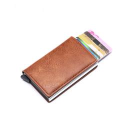 Horse credit card wallet online shopping - RFID Blocking Aluminum Single Box Card Holder Smart Crazy Horse PU Leather Card Wallet Multifunction Slim Wallet