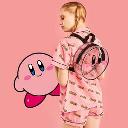 Wholesale sexy super women cosplay for sale – halloween Kirby Super Star round Transparent Backpack kawaii girls woman style bag girl bag style