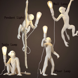 Wholesale creativity arts resale online - LED Pendant Lights Black Monkey Table Light Indoor Lighting Office Study Wall Lamp Chandelier Lamps Creativity Art