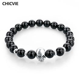 Bracelets For Men Silver Australia - skull bracelet CHICVIE Natural Stone Beads Silver color Skull Bracelets For Men Women Male Tiger Eye Casual Jewelry 2017 Black 8mm Sbr150172