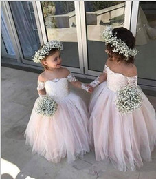 Ruffled long cheap wedding dResses online shopping - Sheer Long Sleeves Lace Appliques Flower Girls Dresses Formal Kids Party Gowns Cheap