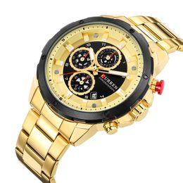 Auto Calendar Quartz Clock Australia - CURREN 8323 Chronograph Sport Watches for Men Business Casual Wristwatch with Calendar Quartz Men's Watch Male Clock Relojes