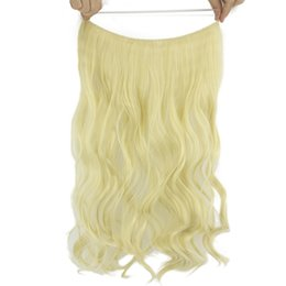 Blonde Halo Hair Australia - 10 Color Long Curly Blonde Gray Synthetic Hair Heat Resistant Fiber Hairpieces Fish Line Halo Invisible Hair