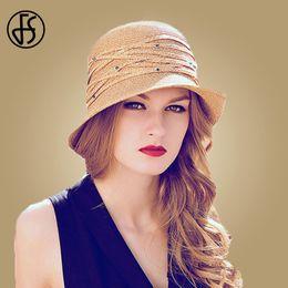 $enCountryForm.capitalKeyWord Australia - FS Foldable Sun Hat For Women Wide Brim Summer Beach Floppy Ladies Straw Hats Fashion Visor Chapeau Paille Sombrero Playa Mujer