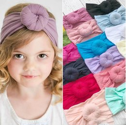 $enCountryForm.capitalKeyWord Australia - 21 colors fashion baby Turban Nylon Headband super soft ball Bohemia hair accessories children kids headbands 16*9cm