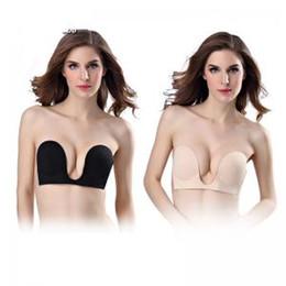 7f6c343ad9d88 Invisible Bra Strapless Deep U Bras Push Up U shape underwears Sticky Self- Adhesive Seamless brassiere Dress underwear GGA1535