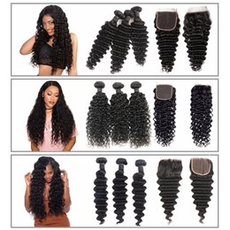 Unprocessed loose wave closUre online shopping - Msjoli Unprocessed brazilian deep wave curly virgin human hair Bundles with Closure Water Deep Loose Deep Wave Remy Hair Extensions