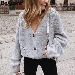 Ladies sexy Long sweaters online shopping - BeAvant Sexy v neck knitted women cardigan Casual buttons bat sleeve white sweater cardigan Elegant autumn ladies sweaters tops SH190930