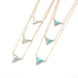 $enCountryForm.capitalKeyWord Australia - Hot Multilayer Triangle turquoise Kallaite Howlite Natural Stone Pendant Short Gold Chain Necklaces Geometric Circle Accessories Jewelry