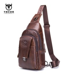 men cowhide chest bags Australia - Brand 2019 High Quality Men Genuine Leather Cowhide Vintage Chest Back Pack Travel fashion Cross Body Messenger Shoulder Bag