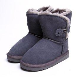 Design Schuhe Mädchen Australien Stil 5991 Kinder Schneeschuhe Cute Button Wasserdichte Slip-on Kinder Winter Kuh Leder Stiefel Marke Verkauf EU25-34