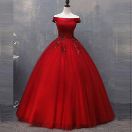 simple lace off shoulder wedding dress NZ - Red Tulle Ball Gown Wedding Dresses Off the Shoulder Beaded Lace Appliques Floor Length Simple Gorgeous Bridal Gowns Made in China