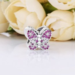 Sterling Silver Oval Beads Australia - 2019 Spring NEW 925 Sterling Silver Butterfly Multicolored CZ charms beads Fits Pandora Jewelry DIY Bracelets Necklaces