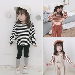 Cute loose girl shirts online shopping - Korean style Spring baby girls striped patchwork sleeve T shirts cute boys kids cotton casual loose Tees Tops T191013