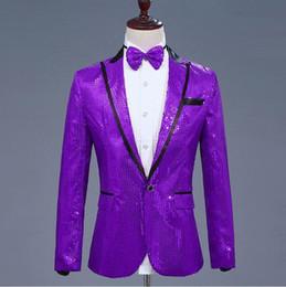 $enCountryForm.capitalKeyWord Australia - Mens Glitter Blazer Sequin Jacket Bow Tie Sequins Dress Suit Men Nightclub Prom Stage Show Wedding Grooms Singer Costumes Homme