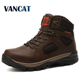 warm waterproof winter sneakers NZ - Brand Men Winter Snow Warm Men's High Quality Waterproof Leather Sneakers Outdoor Male Hiking Work Boots 40-47 LY191217 s