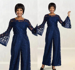 $enCountryForm.capitalKeyWord Australia - Jumpsuits Navy Blue Lace Mother Of Bridal Pant Suits For Wedding Formal Outfit Long Sleeves Lace Appliqued Women Prom Evening Dresses