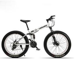 Folding bike white online shopping - Fat Bike suspensión completa de acero marco plegable velocidades Shimano freno mecánico quot x4 rueda