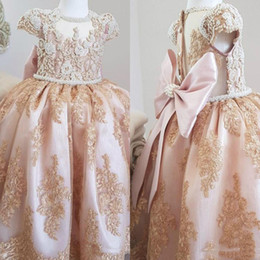toddler girls shirt dresses Australia - Luxury Pearl Beaded Pink Ball gown Flower Girls Dresses With Back bow Lovely Jewel Neck gold Appliqued girls Pageant Dress Toddler