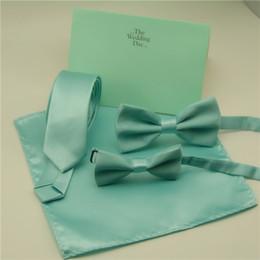 $enCountryForm.capitalKeyWord Australia - Fashion Bow Ties For Men Children Solid Mint Green Bow Ties Handkerchief Cravat Adjustable Blue Green Butterfly Pocket Square