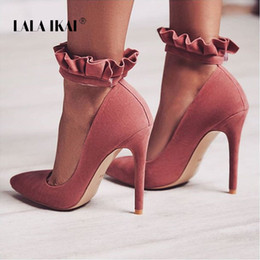 $enCountryForm.capitalKeyWord NZ - LALA IKAI Heels Pointed Toe Women Pumps Ruffles 12 CM Sexy High Heels Buckle Strap Party Shoes Wedding Shoes 014C1867 -49