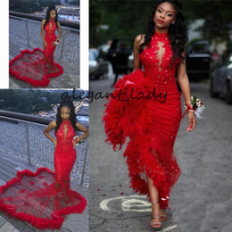 33c4e9a3100c Sexy Red Mermaid Prom Dresses with Feathers 2019 vestidos de gala robe de  soiree Lace Sequined Beaded African Evening prom dress