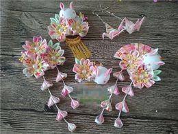 $enCountryForm.capitalKeyWord Australia - Accessories Headwear Japanese Style Kimono Costume Hairpin Lovely Sakura Flower Pink Rabbit Hair Accessories Headdress Elegant Headwear