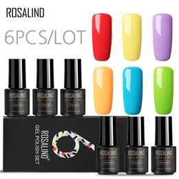 uv nail sets NZ - (6PCS LOT) ROSALIND 7ML Nail Gel Polish set for manicure Pure Colors Gel Lacquer UV for DIY Manicure Soak off Nails Art