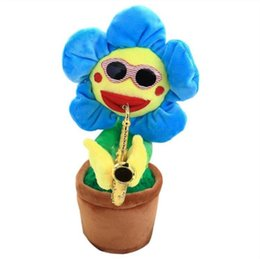 dancing sunflowers Australia - Electric Sunflowers Toy Bluetooth Connection Musical Enchanting simulation Flower Dancing Singing Plush Toys Party Noise Maker LXL1171