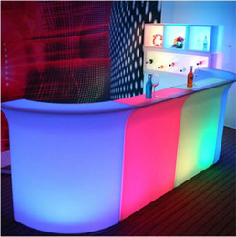 Luminous LED Bar Counter waterproof rechargeable Rundbar LED Bartresen furniture Color Changing Club Waiter bars disco party on Sale