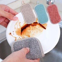 wholesale nylon fiber Australia - Salable Dishcloth Oil-free Fiber Cloth Kitchen Strong Sponge Nylon Wire Double-sided Pot Brush Dirt Removal Water Absorption
