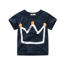 $enCountryForm.capitalKeyWord UK - Baby Boys Crown Printed Boys T Shirt New Summer Children Kids Boy's Clothing Cotton Baby Toddler Boys Short Sleeve T Shirt