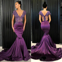 537c7d97401 Grape Purple Prom Dresses Sexy V Neck Lace And Satin Mermaid Evening Gowns  See Through Top Cap Sleeve Formal Party Dress Custom Made