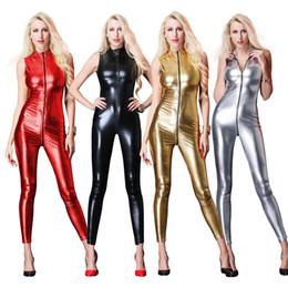 $enCountryForm.capitalKeyWord NZ - New Sexy Sleeveless Long Catsuit Bodysuit latex lingerie babydoll Erotic underwear Faux Leather Zipper Women Jumpsuit