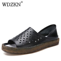 gladiator open toe sandal NZ - WDZKN 2020 Genuine Leather Open Toe Hollow Gladiator Women Summer Roman Shoes Flat Casual Ladies Sandals MX200407