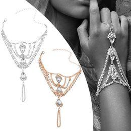 $enCountryForm.capitalKeyWord Australia - Gold Silver Color Crystal Link Chain Lobster Bridal Bracelet &Bangle Rhinestone Wedding Hand Slave Finger Ring Jewelry