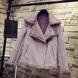 Deerskin coat online shopping - New Sheepskin Coat Lamb Fur Coat Locomotive Deerskin Velvet Padded Jacket Purple Warm Black Purple Coats W001
