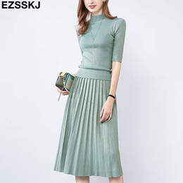 Wholesale midi skirt sets resale online - Glitter Autumn spring Women elegant Sweater Pullover Pleated skirt piece set shiny Knitted midi dress Slim sweater suit T191019