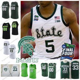 59bf27e2f1e6 Custom 2019 Michigan State Spartans Basketball Jersey Any Name Number 5  Cassius Winston 20 Matt McQuaid 2019 Final Four MSU S-4XL
