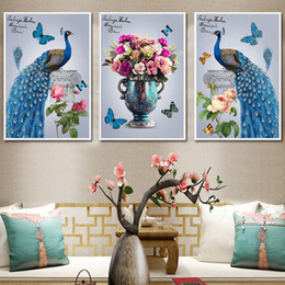 vase decoration beads Australia - Youran 3 Pieces Diamond Painting Blue Peacock and Vase Animal Flower DIY Bead Mosaic Making For Living Room Sofa Home Decoration