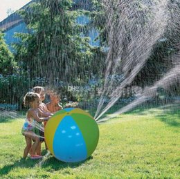 Wholesale 75cm Inflatable Beach Water Ball kids toys Outdoor Sprinkler Summer Inflatable Water Spray Balloon Outdoors Play toy In The Water Beach Ball