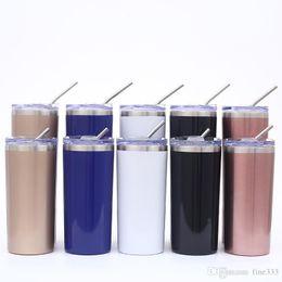 20OZ acciaio inox Magro Bicchiere vuoto diritto isolato tazza Birra tazza di caffè bicchieri di vino con coperchi e metallo Cannucce Acqua in Offerta