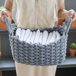 natural linen clothing NZ - Linen Crochet Storage Basket Handmade Clothes Laundry Basket Natural Fabric Baby Toys Storage Basket Desktop Small Organizer Box SH190923
